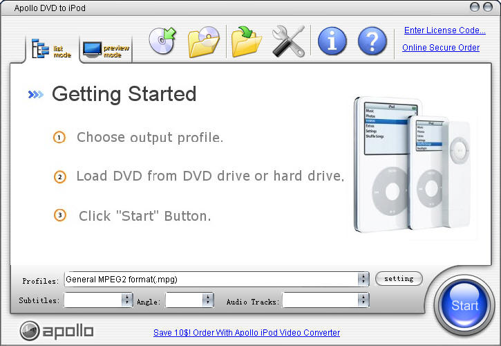 Apollo DVD to iPod 6.1.2 software screenshot