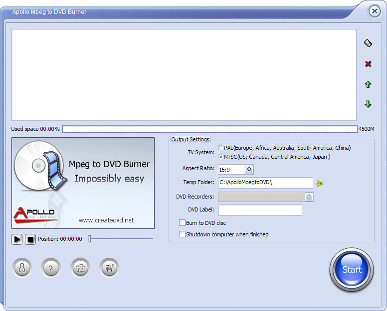 Apollo MPEG to DVD Burner 2.4.0 software screenshot