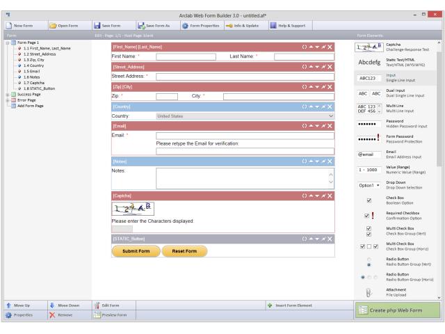 Arclab Web Form Builder 4.41 software screenshot