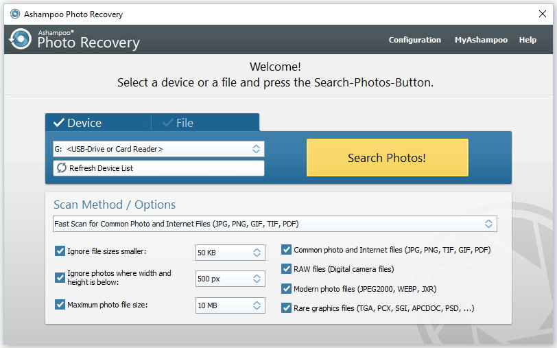 Ashampoo Photo Recovery 1.0.4 software screenshot