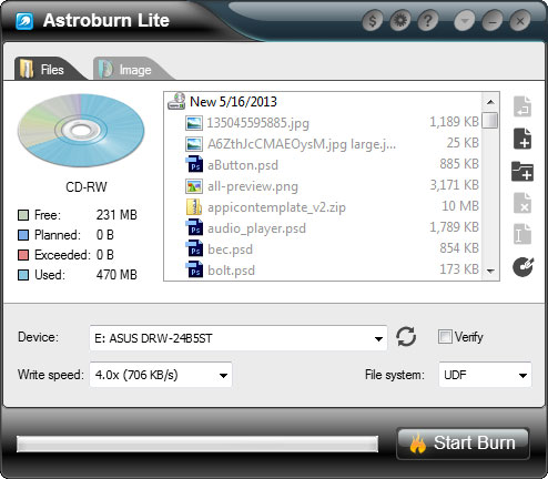 Astroburn Lite 2.0.0.0204 software screenshot