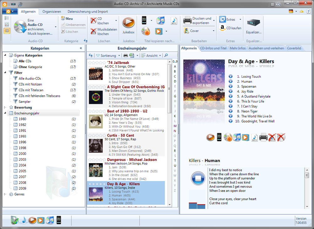 Audio-CD-Archiv 7.10.727 software screenshot