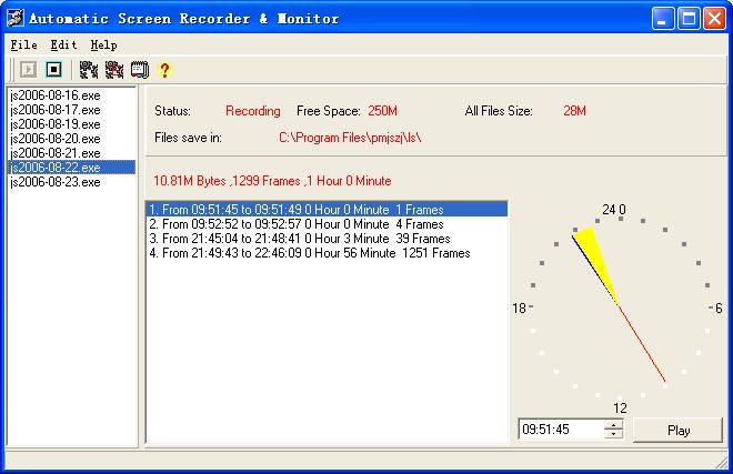 Automatic Screen Recorder And Monitor V3.5 Build0325 software screenshot