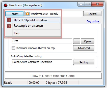 Bandicam 3.4.3.1262 software screenshot