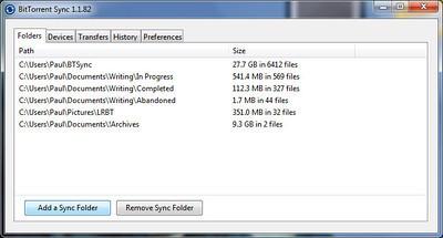 Resilio Sync 2.5.6 (1043) software screenshot