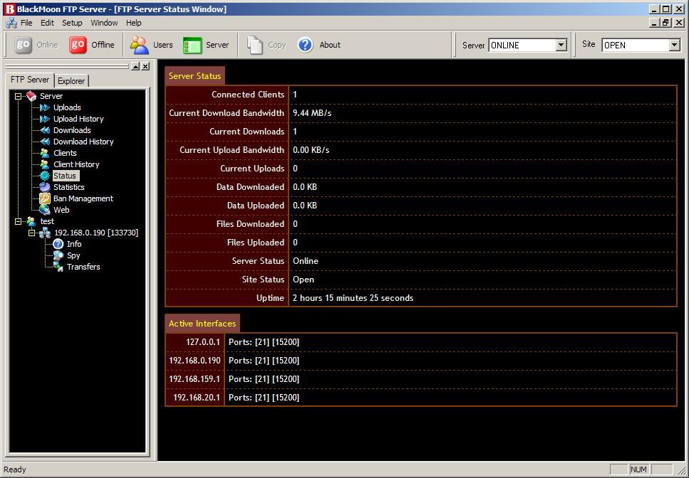 BlackMoon FTP Server 3.1.6.1735 software screenshot