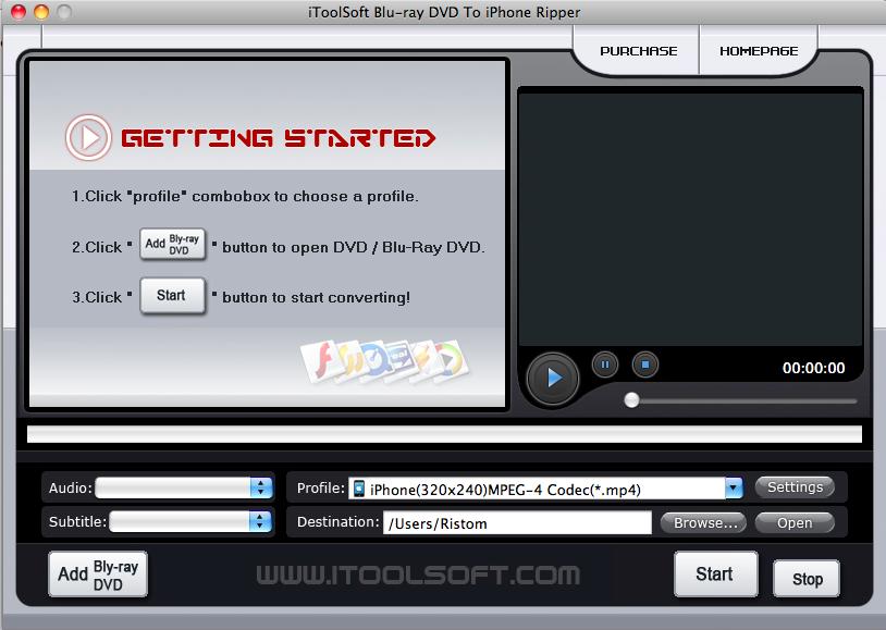 Blu-rayDVD to iPhone Ripper for Mac 3.1.1.1 software screenshot