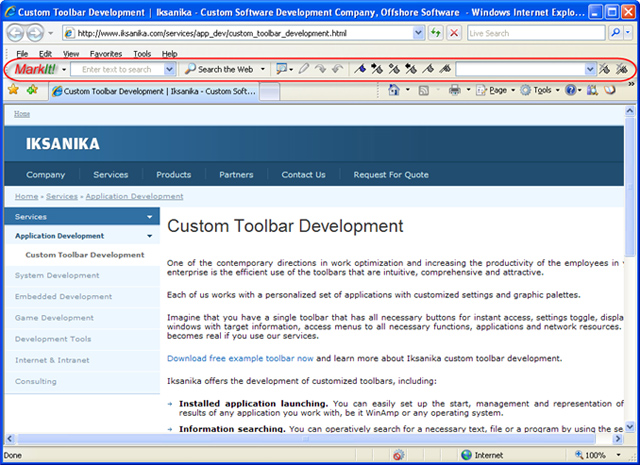 Bookmark Toolbar 1.3.5.5 software screenshot