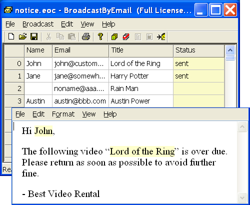 Broadcast By Email 7.6.5 software screenshot