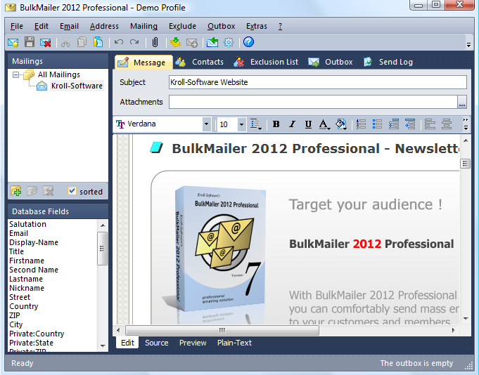 BulkMailer Professional 7.6.0 software screenshot