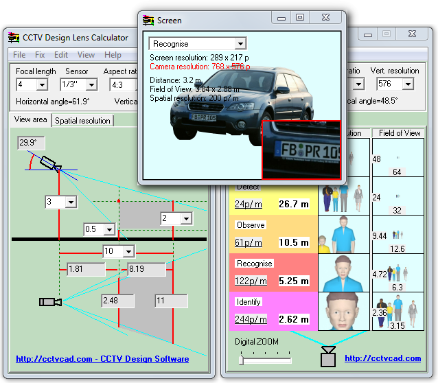 CCTV Design Lens Calculator 3.0.0.0 software screenshot