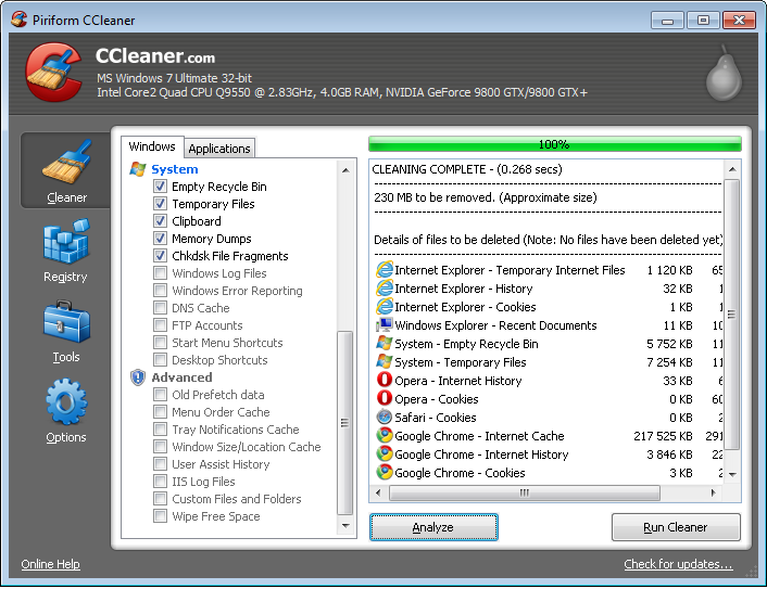 CCleaner 5.32.6129 software screenshot