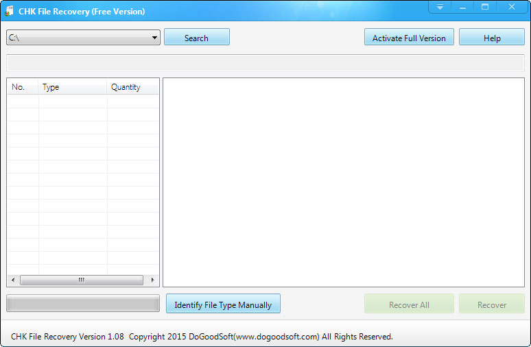 CHK File Recovery 1.12 software screenshot