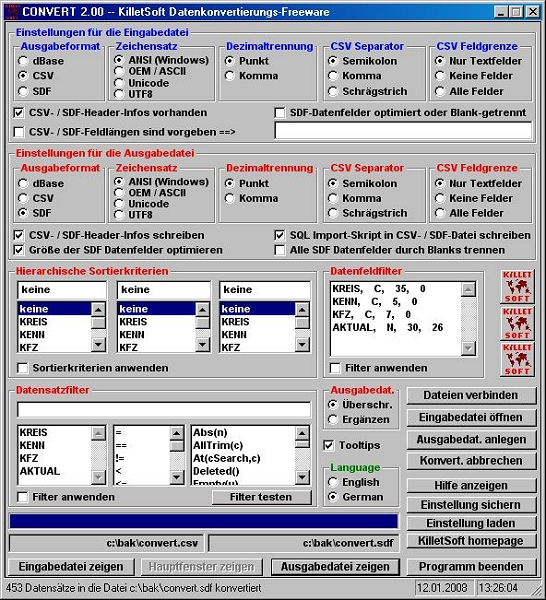 CONVERT (Deutsch) 3.14 software screenshot