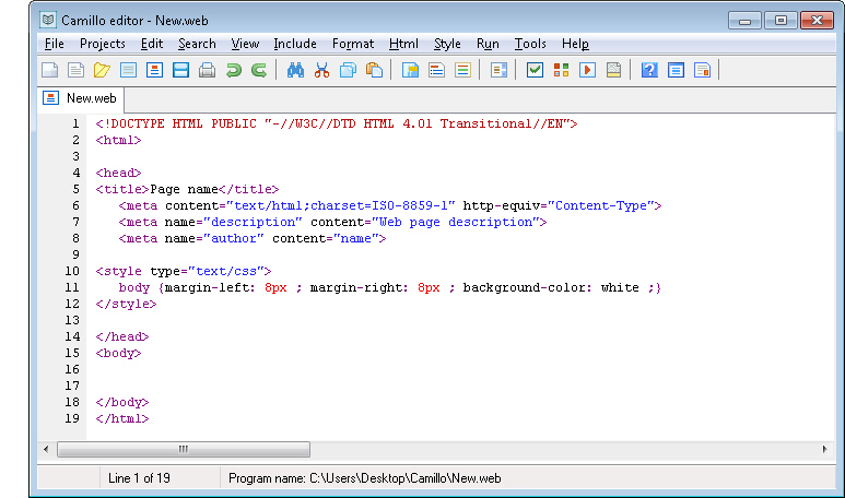 Camillo editor 2.6 software screenshot