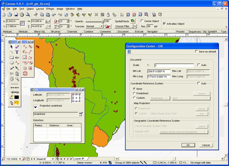 Canvas GIS Mapping Edition 9.0.4 software screenshot