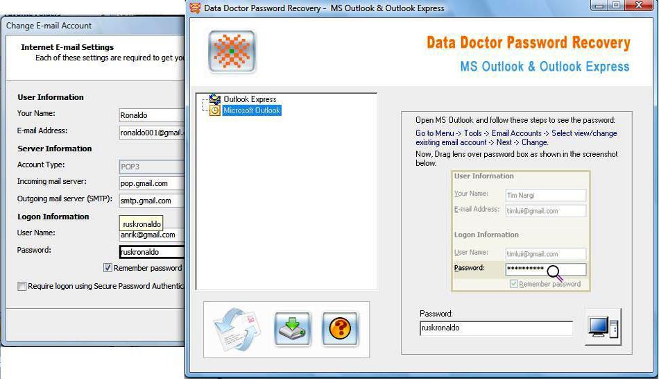 Change Outlook Password 3.0.1.5 software screenshot