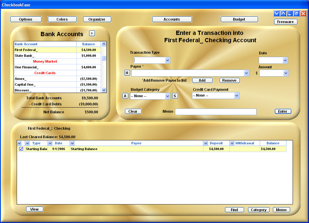 Checkbook Ease Freeware 2.1 software screenshot