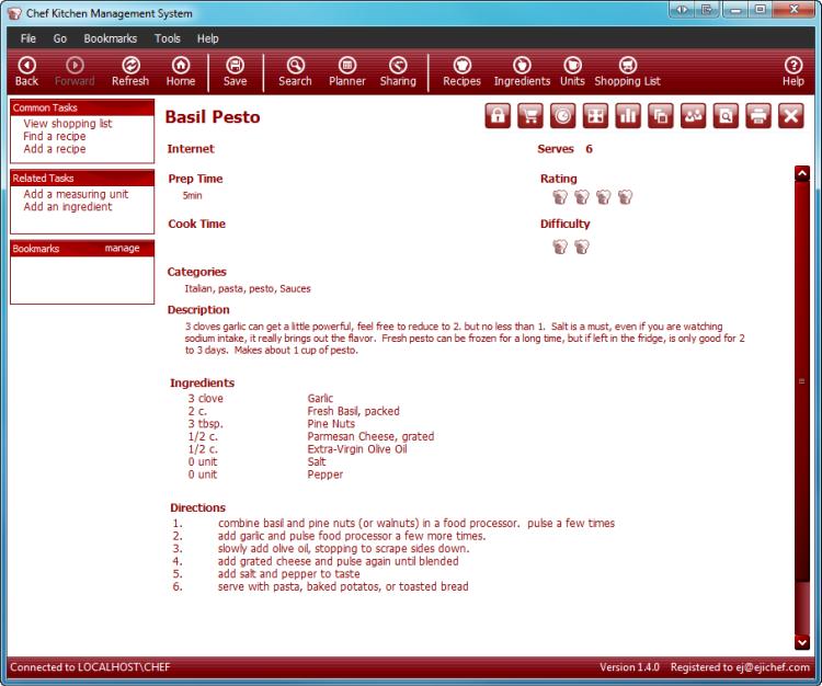 Chef 1.4.2 software screenshot