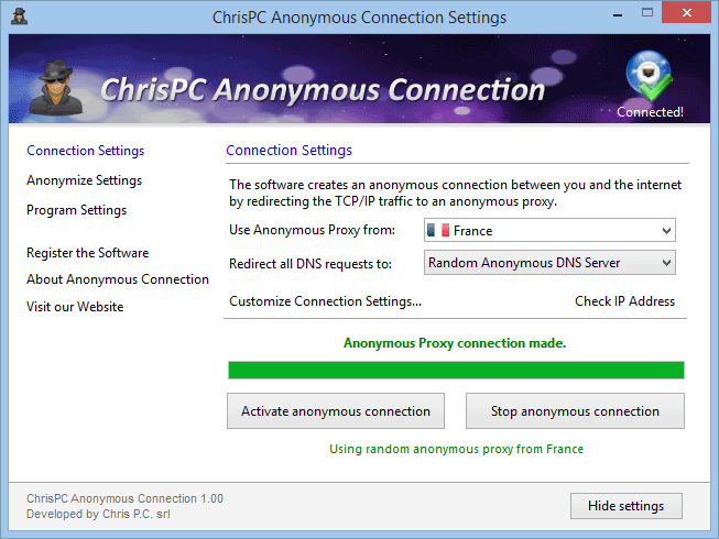 ChrisPC Anonymous Connection 1.40 software screenshot