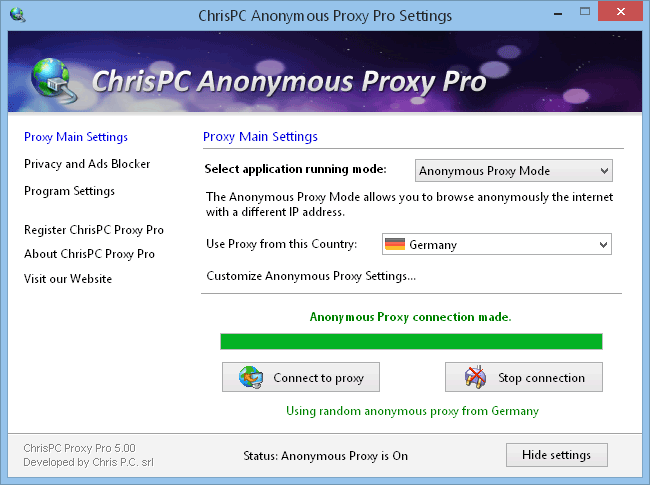 ChrisPC Anonymous Proxy Pro 7.10 software screenshot