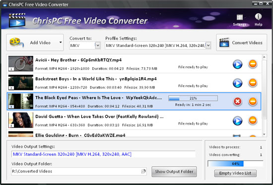 ChrisPC Free Video Converter 4.00 software screenshot