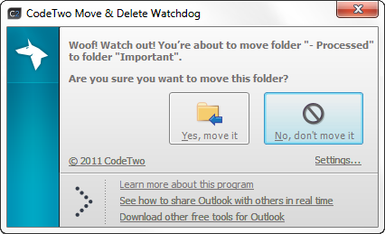 CodeTwo Move & Delete Watchdog 1.1.1.9 software screenshot