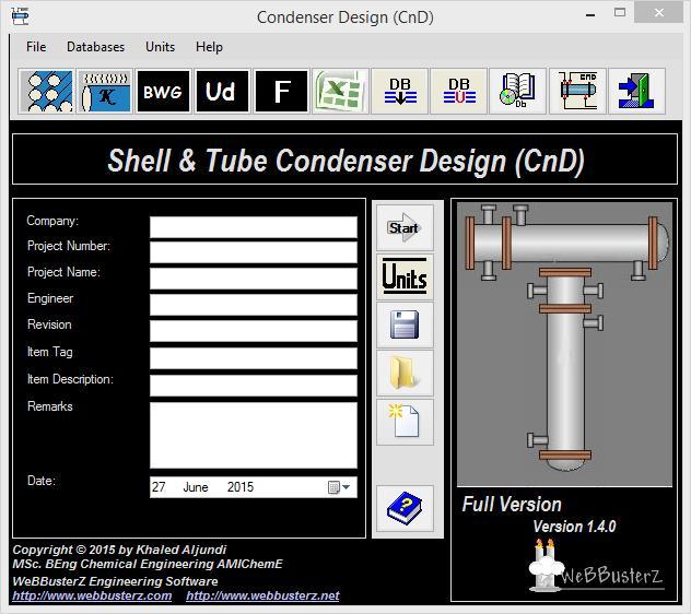 Condenser Design 1.5.0.0 software screenshot
