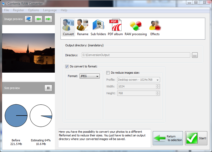 Contenta RAW Converter 6.6 software screenshot