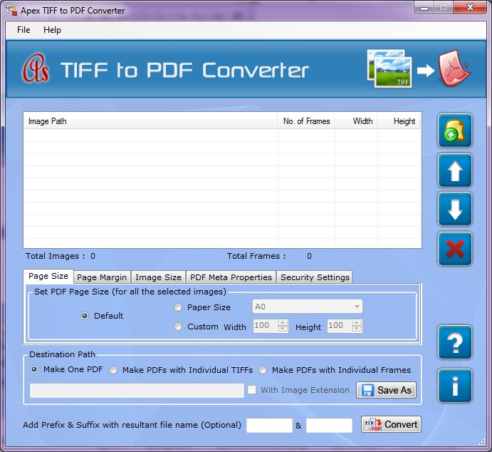Convert Multipage TIFF to PDF 2.3.8.2 software screenshot