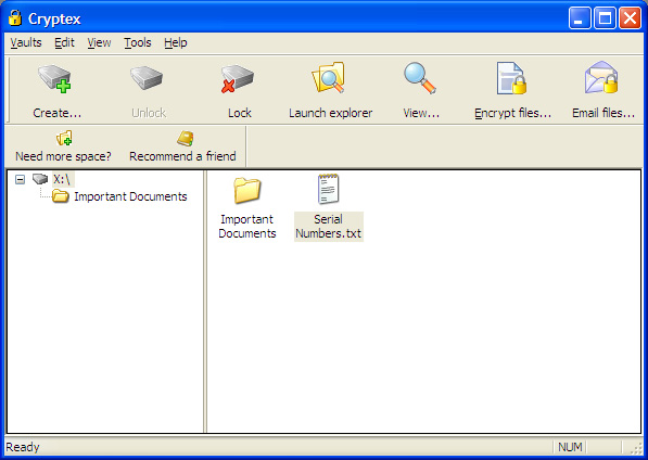 Cryptex - 1 TB Vault 2 software screenshot