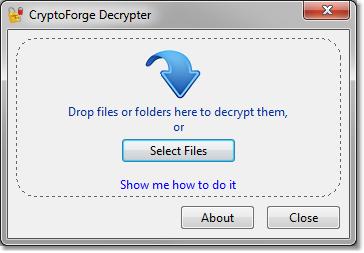 CryptoForge Decrypter 5.2.1 software screenshot