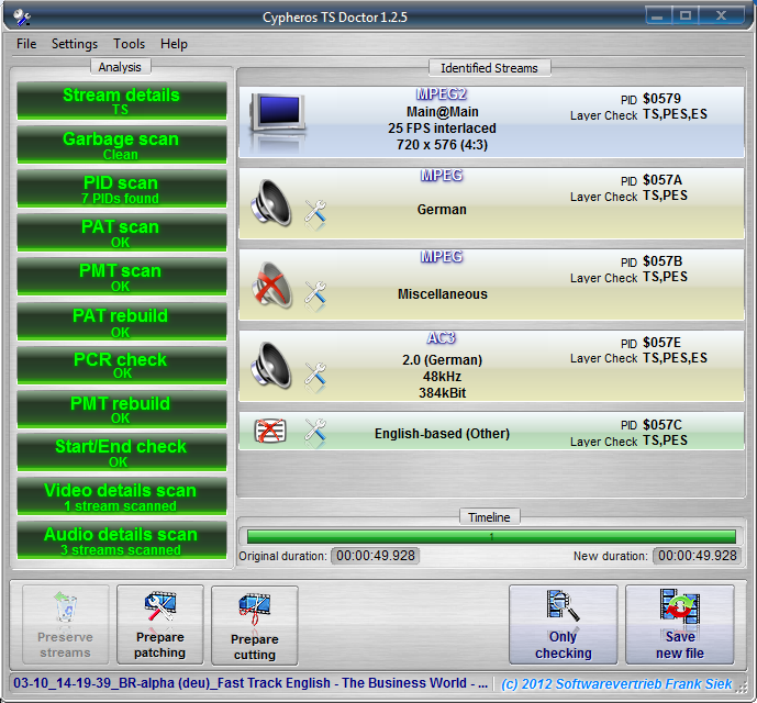 Cypheros TS-Doctor 2.0.80 software screenshot