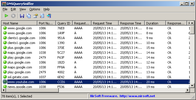 DNSQuerySniffer 1.61 software screenshot