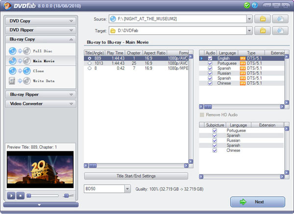 DVDFab HD Decrypter 10.0.4.5 software screenshot
