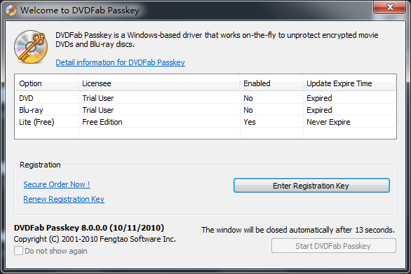 DVDFab Passkey Lite 9.2.0.7 software screenshot