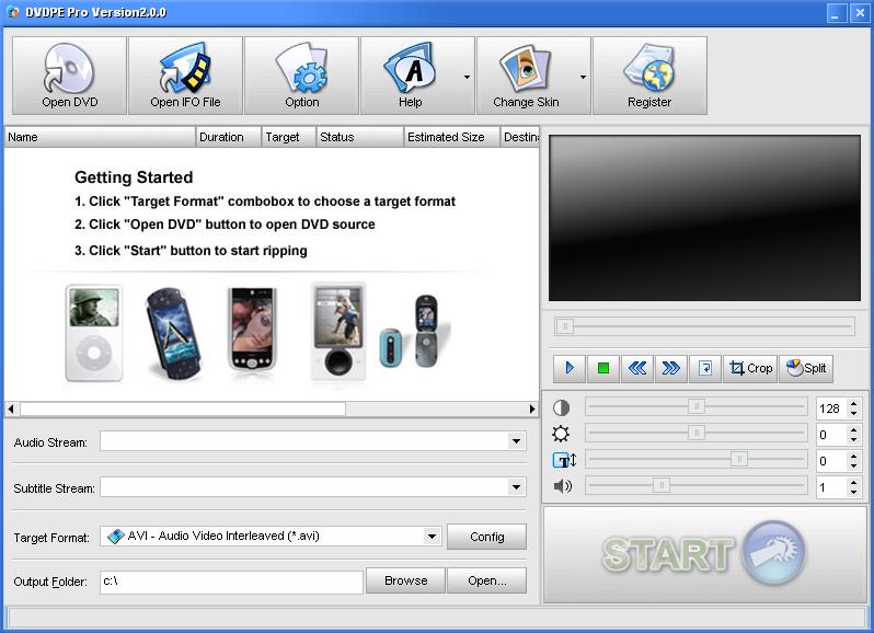 DVDPe Pro 2.3 software screenshot