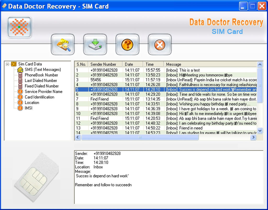 Data Recovery Software for SIM Cards 3.0.1.5 software screenshot