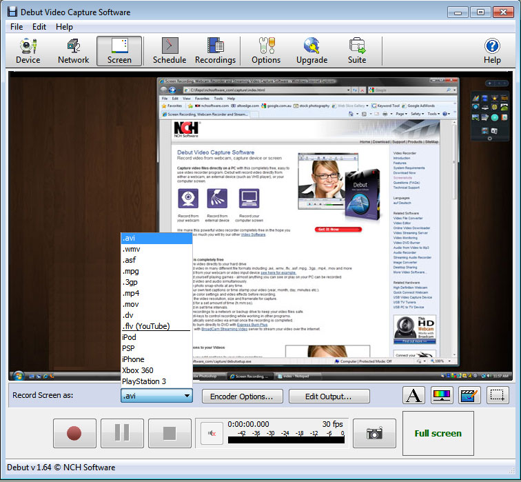 Debut Video Capture Software 4.04 Beta software screenshot