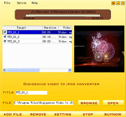 DigiGenius Video to iPod Converter 3.6.6 software screenshot