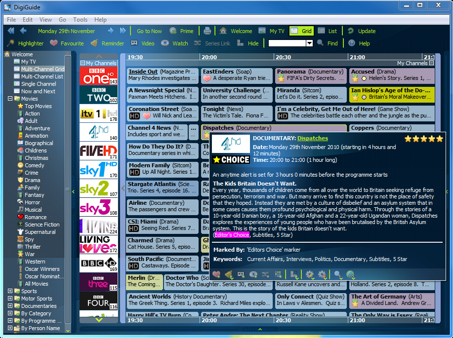 Digiguide 8.4 software screenshot