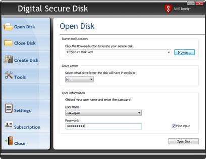 Digital Secure Disk 2011 software screenshot