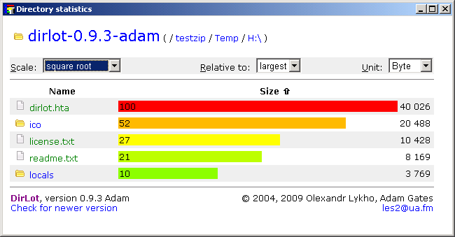 Dirlot 0.9.3adam software screenshot