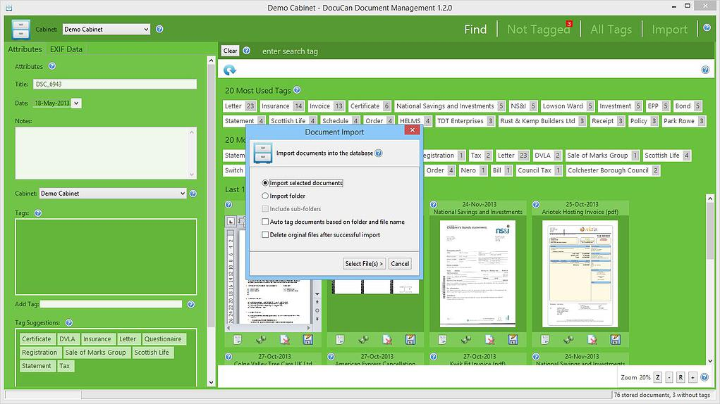 DocuCan 1.7.1 software screenshot