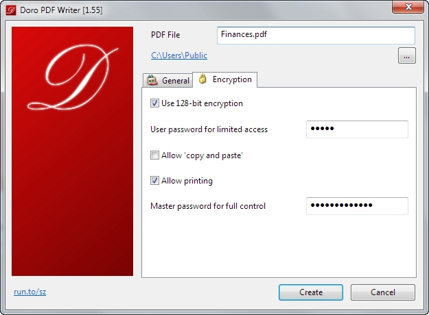 Doro PDF Writer 2.09 software screenshot