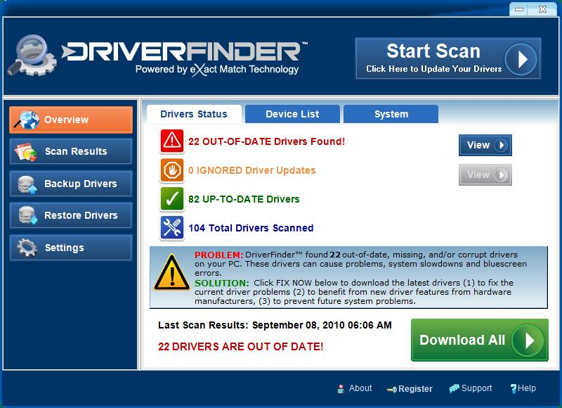 DriverFinder 3.6.1.0 software screenshot