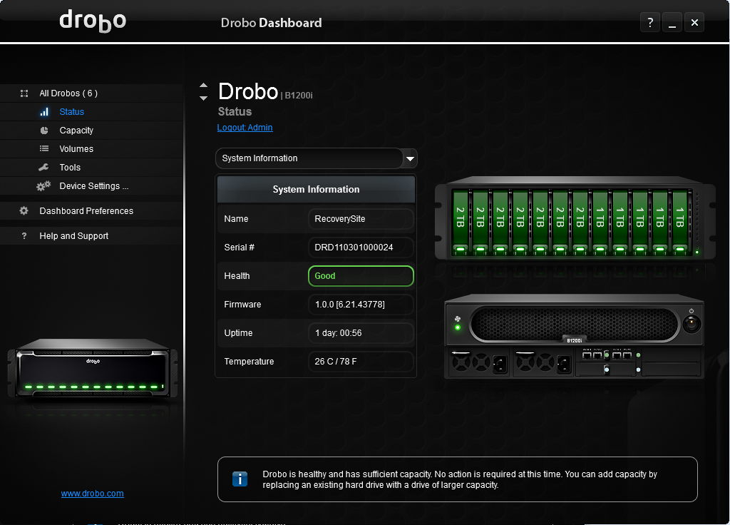 Drobo Dashboard 3.1.2.92795 software screenshot