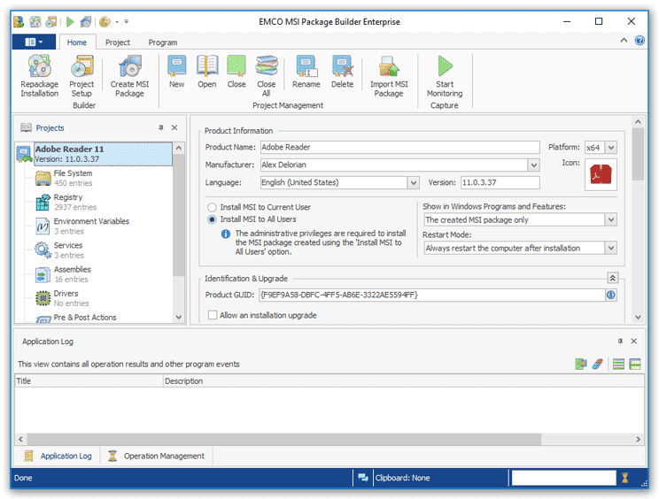 EMCO MSI Package Builder Enterprise 6.1.6.2547 software screenshot