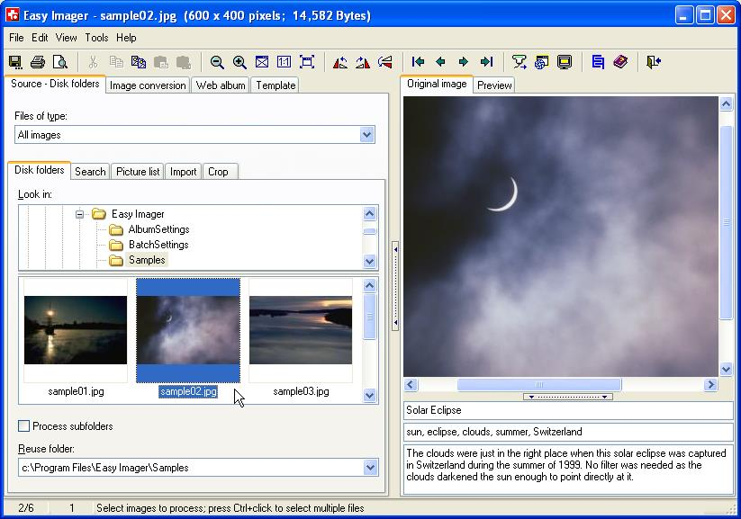 Easy Imager 2.22 software screenshot
