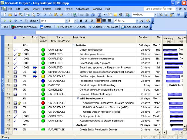 EasyTaskEmail (Email MS Project Tasks) 4.0.1 software screenshot